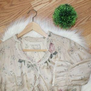 Vintage Johnny Was 100% Silk Floral Blouse S